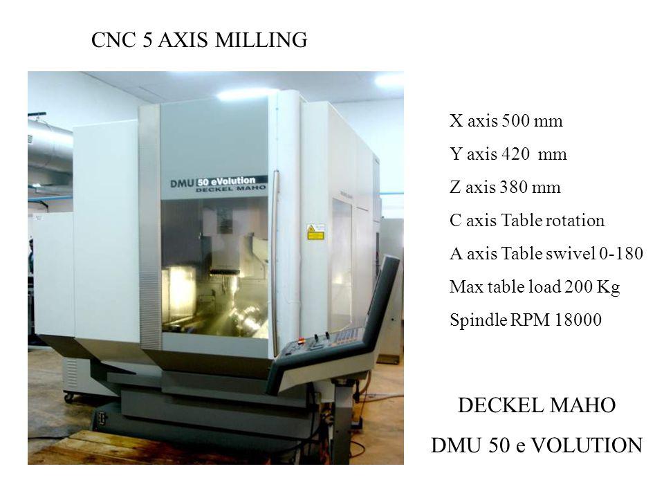 CNC 5 AXIS MILLING DECKEL MAHO DMU 50 e VOLUTION X axis 500 mm