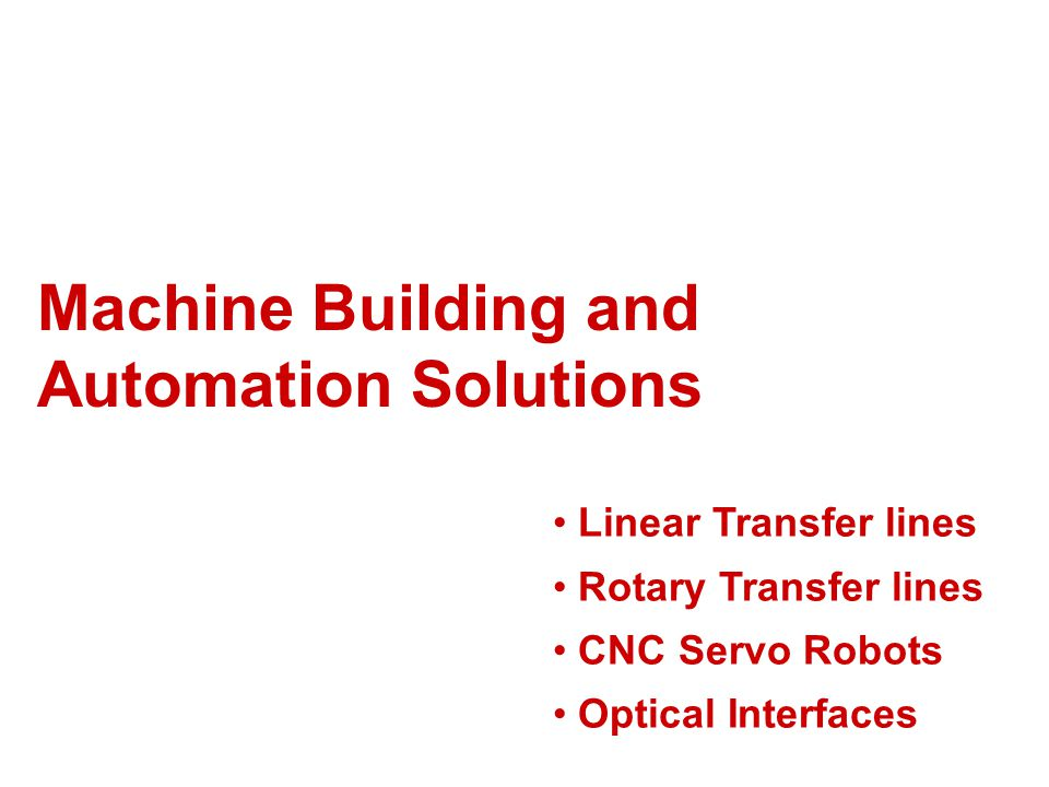 Machine Building and Automation Solutions