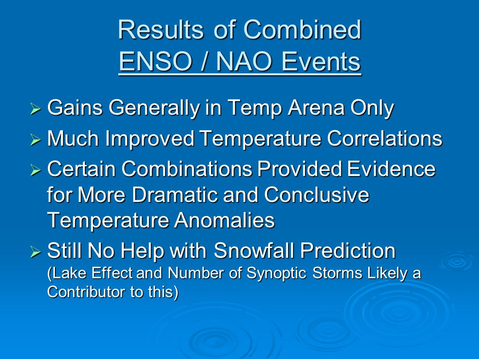 Results of Combined ENSO / NAO Events