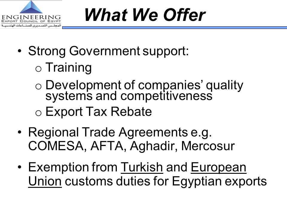 What We Offer Strong Government support: Training