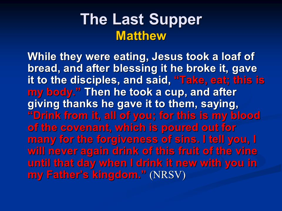The Last Supper Matthew