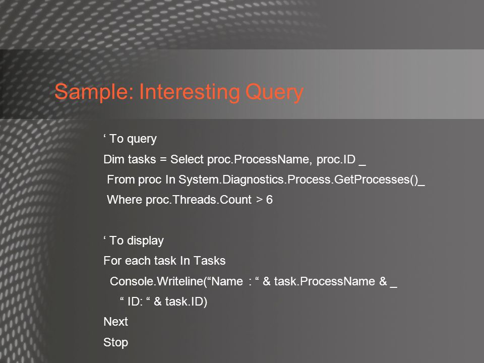 Sample: Interesting Query