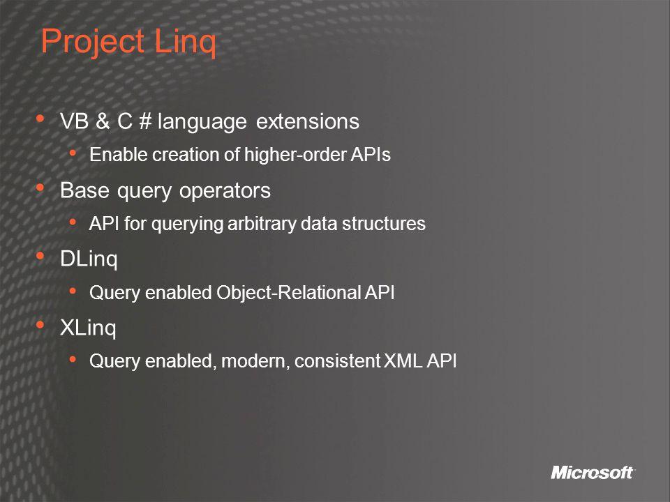 Project Linq VB & C # language extensions Base query operators DLinq