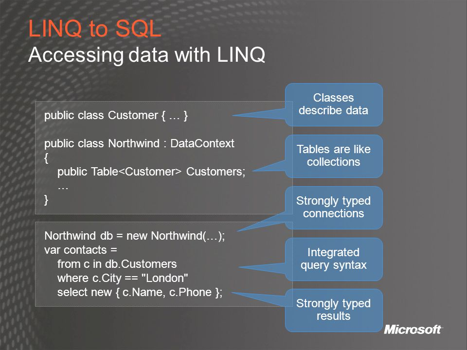 LINQ to SQL Accessing data with LINQ