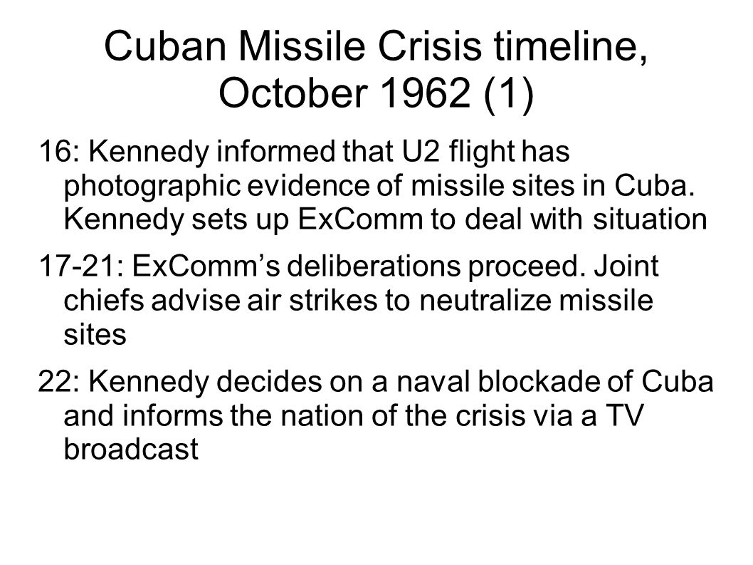 cuban missile crisis timeline Timeline: us-cuba relations 11 october 2012 1962: cuban missile crisis ignites when the us released photos of soviet nuclear missile silos in cuba - triggering a crisis which took the two superpowers to the brink of nuclear war.