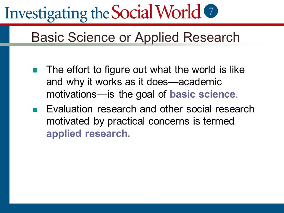 Basic Science or Applied Research