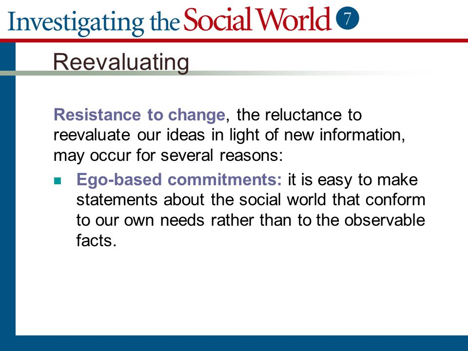 Reevaluating Resistance to change, the reluctance to reevaluate our ideas in light of new information, may occur for several reasons: