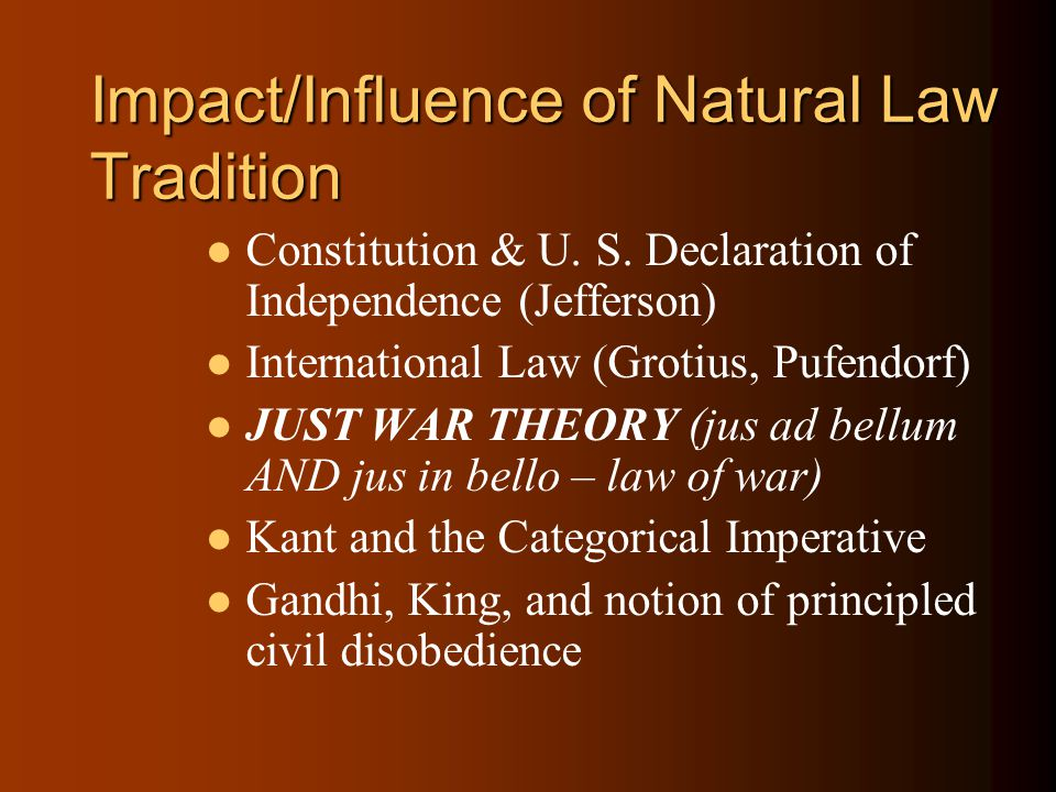 Impact/Influence of Natural Law Tradition