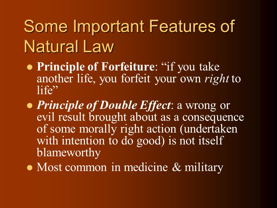 Some Important Features of Natural Law