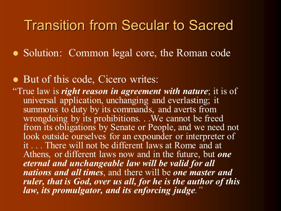 Transition from Secular to Sacred