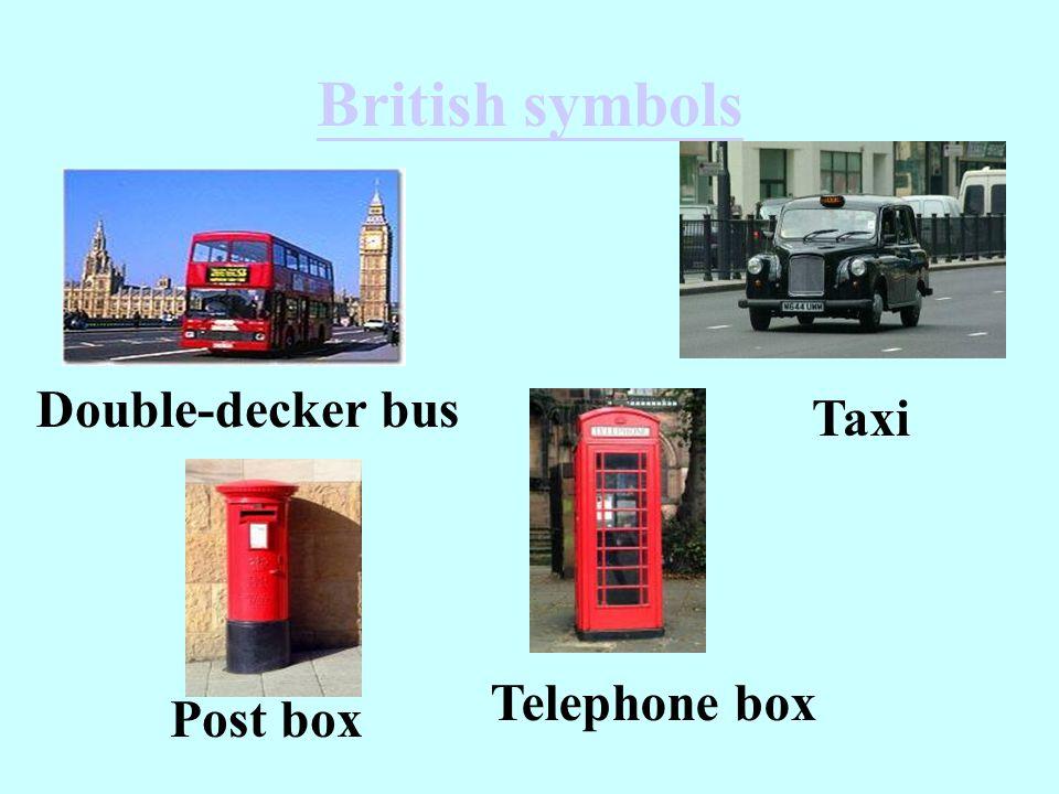 British symbols Double-decker bus Taxi Telephone box Post box