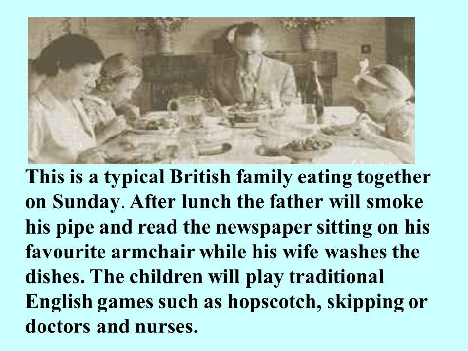 This is a typical British family eating together on Sunday