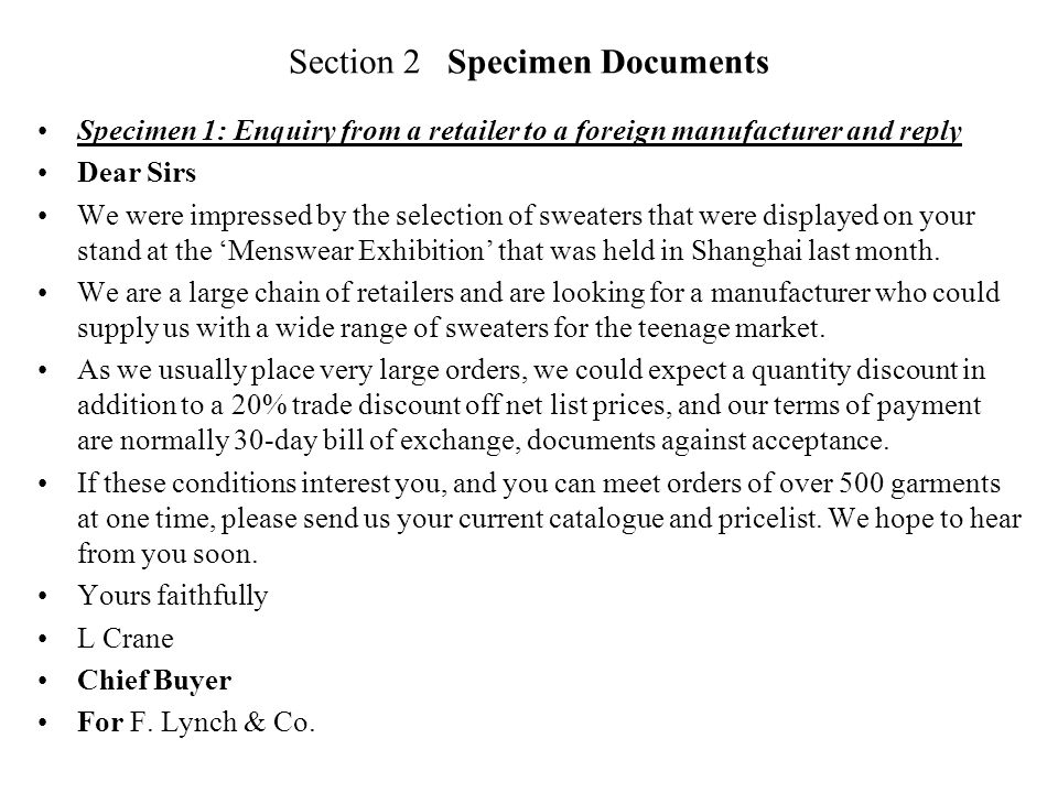 Section 2 Specimen Documents