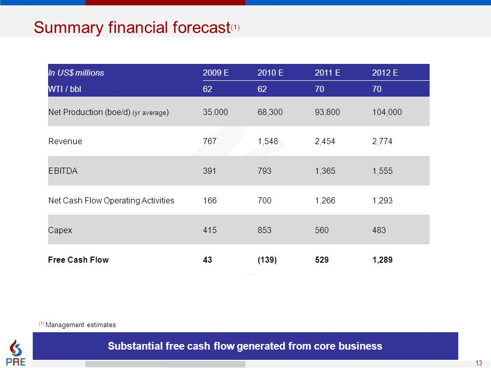 Summary financial forecast(1)