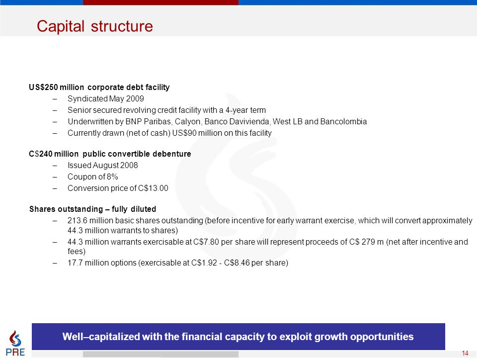 Capital structure US$250 million corporate debt facility. Syndicated May 2009. Senior secured revolving credit facility with a 4-year term.