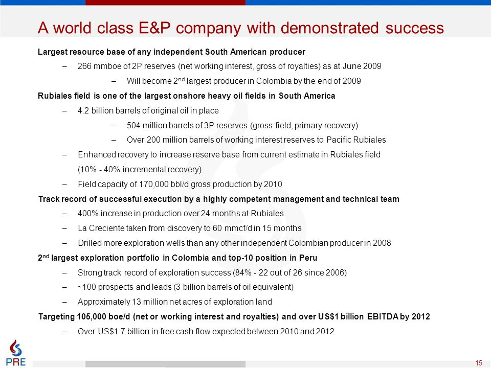 A world class E&P company with demonstrated success