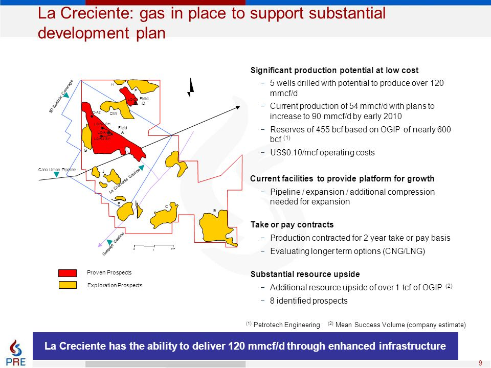 La Creciente: gas in place to support substantial development plan