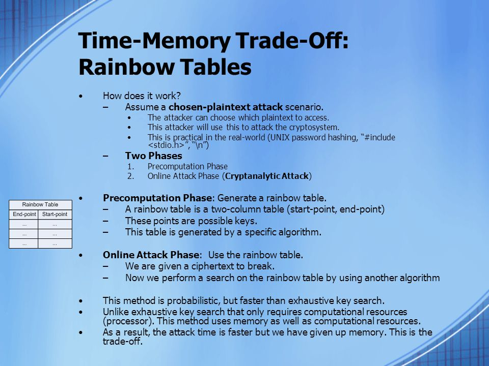 Time-Memory Trade-Off: Rainbow Tables