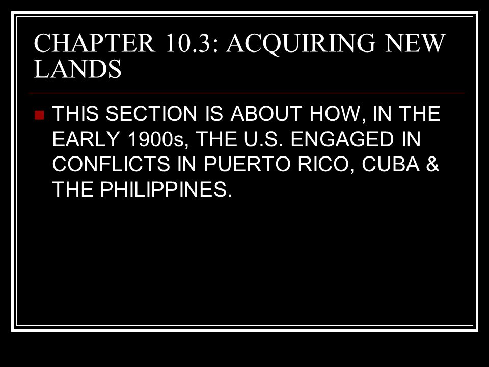 CHAPTER 10.3: ACQUIRING NEW LANDS
