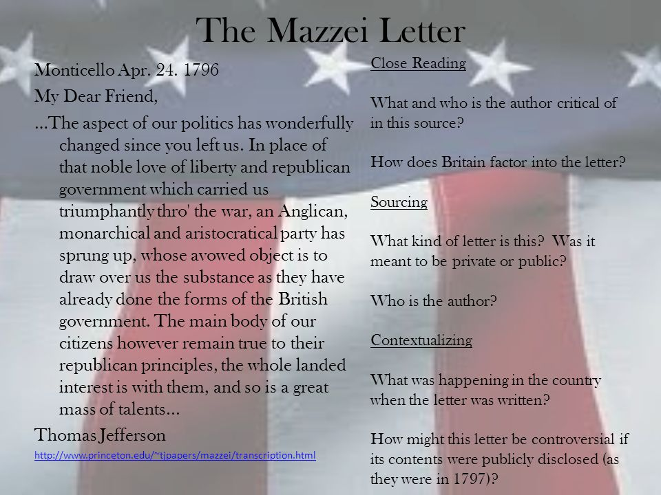 The Mazzei Letter Monticello Apr. 24. 1796 My Dear Friend,
