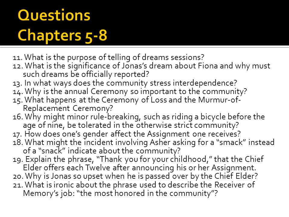 Questions Chapters 5-8