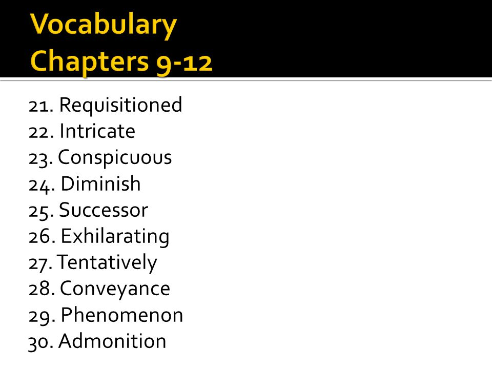 Vocabulary Chapters 9-12