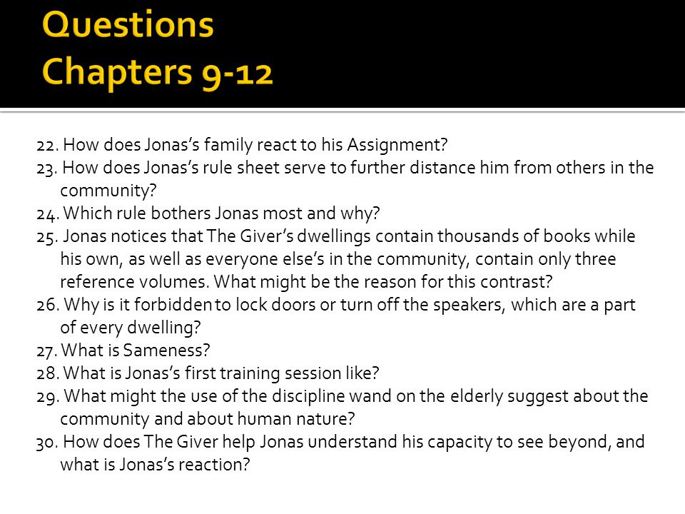 Questions Chapters 9-12