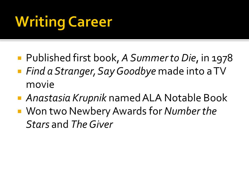 Writing Career Published first book, A Summer to Die, in 1978