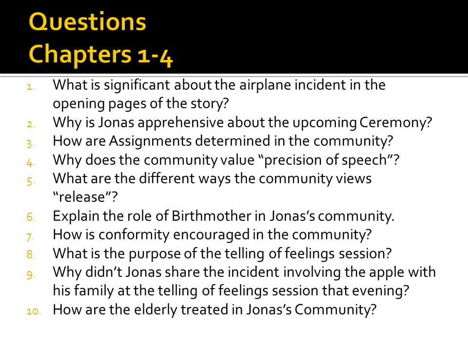 Questions Chapters 1-4 What is significant about the airplane incident in the opening pages of the story