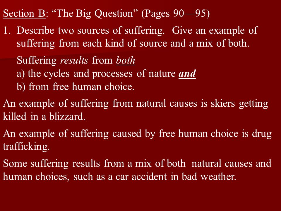 Section B: The Big Question (Pages 90—95)