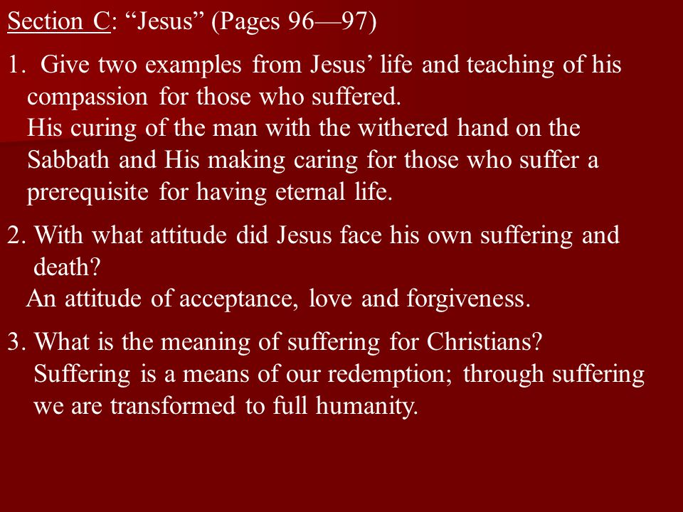 Section C: Jesus (Pages 96—97)