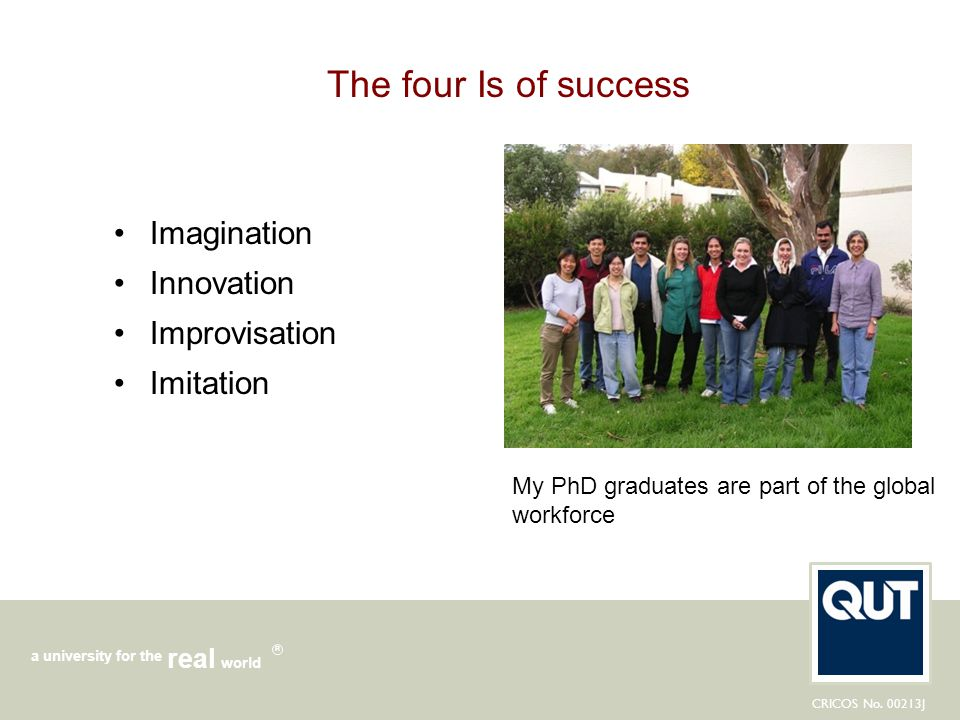 The four Is of success Imagination Innovation Improvisation Imitation