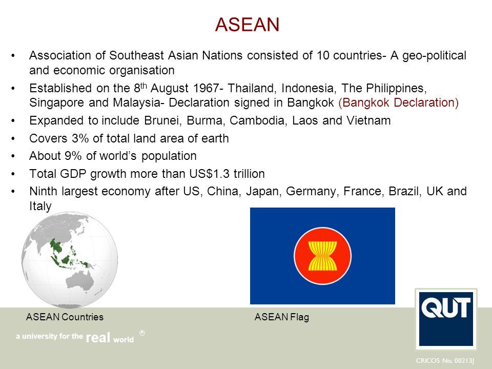ASEAN Association of Southeast Asian Nations consisted of 10 countries- A geo-political and economic organisation.