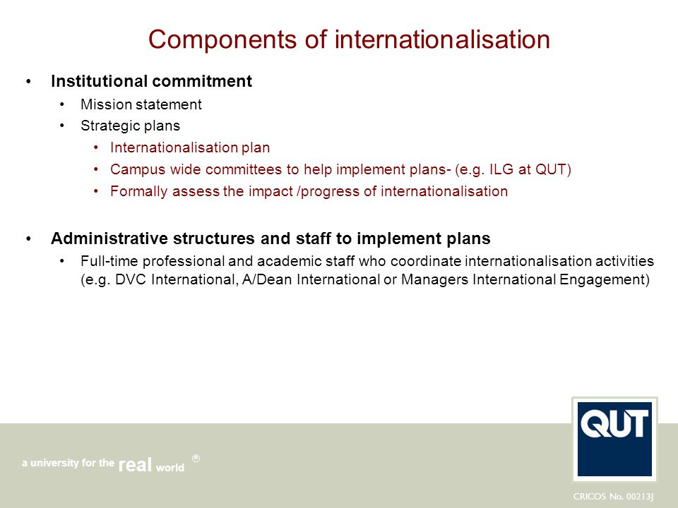 Components of internationalisation