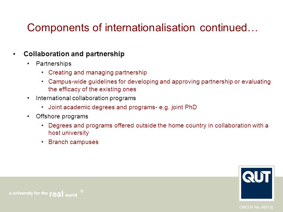 Components of internationalisation continued…