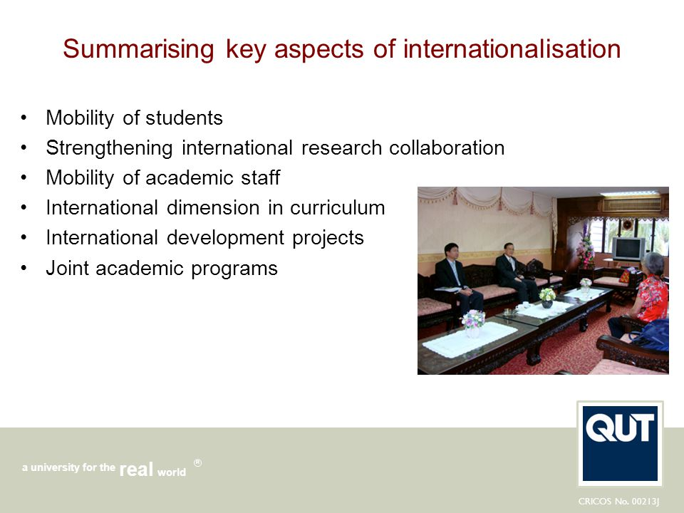 Summarising key aspects of internationalisation