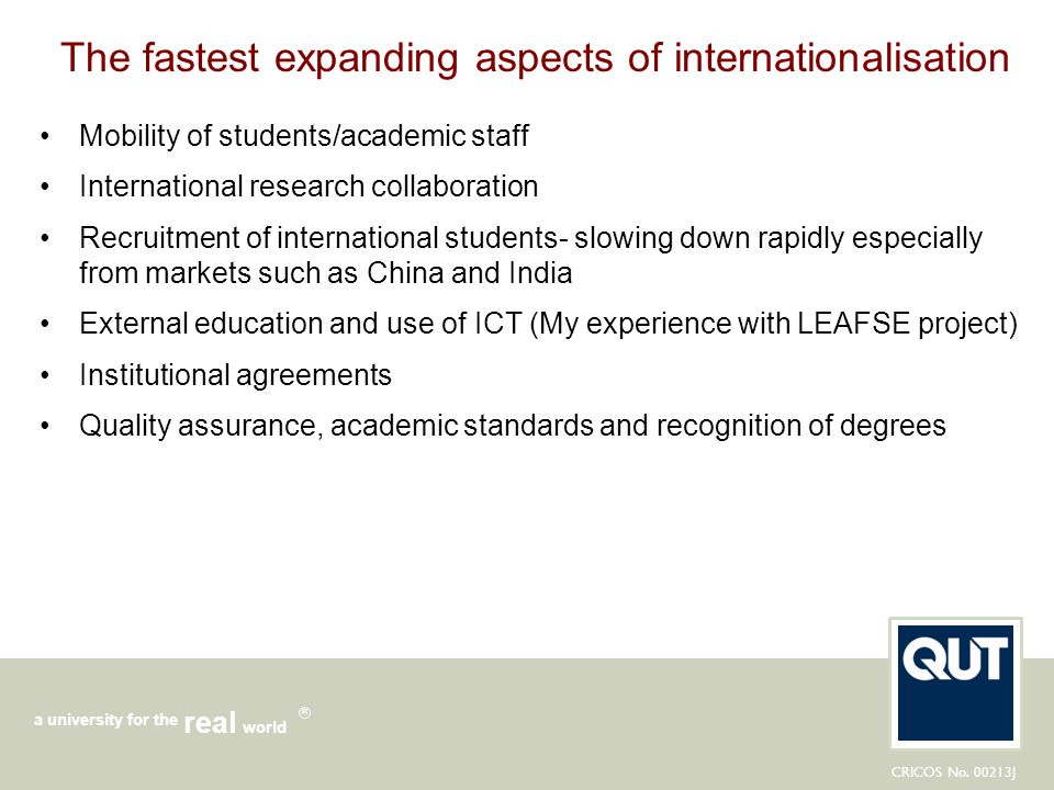The fastest expanding aspects of internationalisation