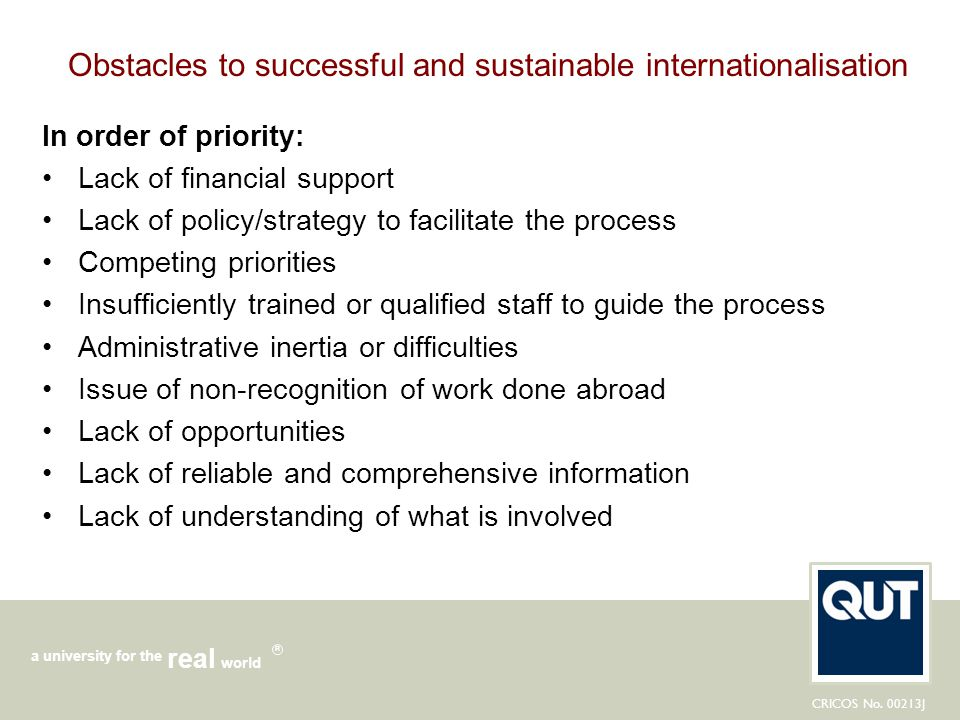 Obstacles to successful and sustainable internationalisation