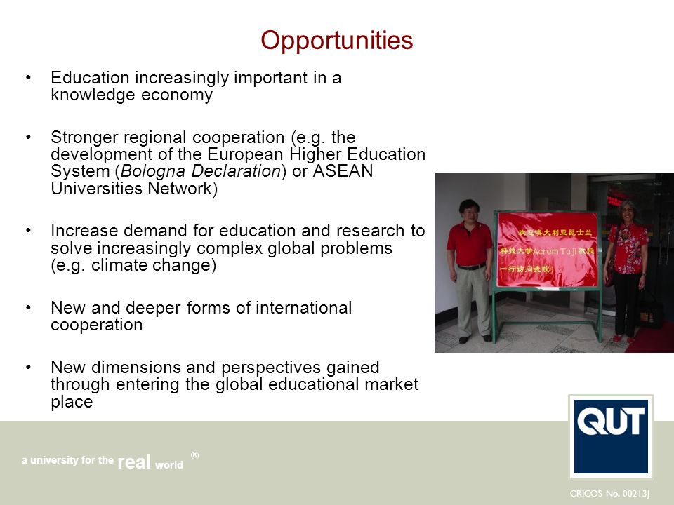 Opportunities Education increasingly important in a knowledge economy