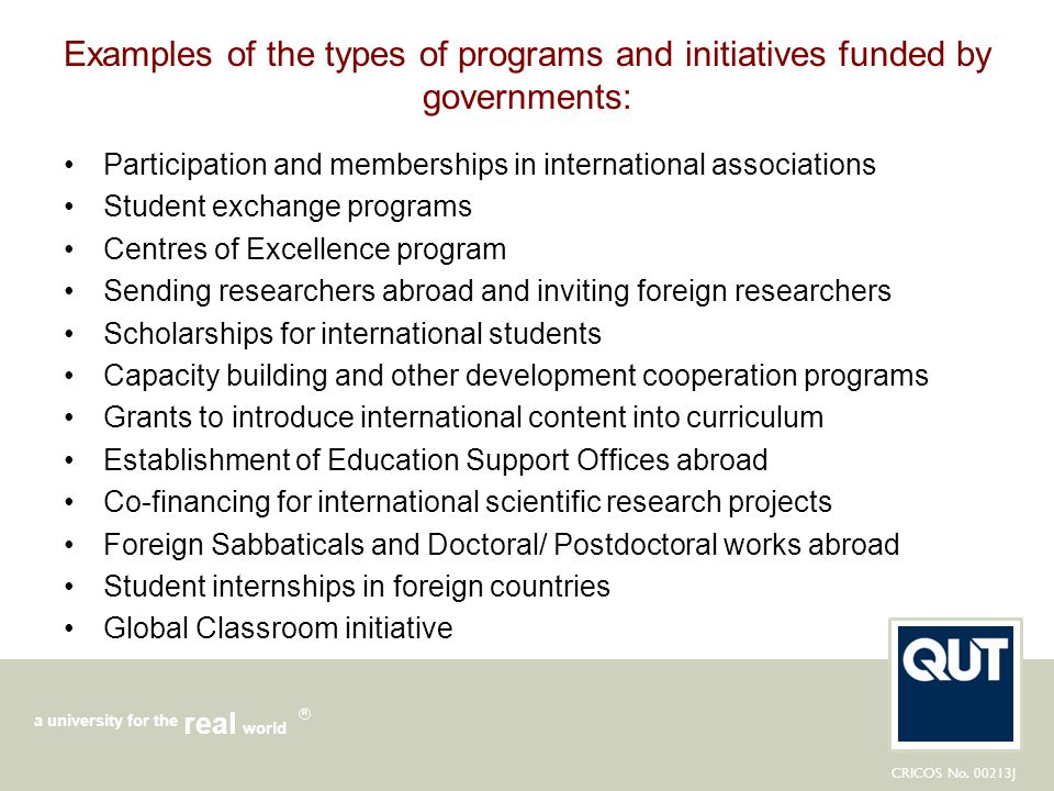 Examples of the types of programs and initiatives funded by governments: