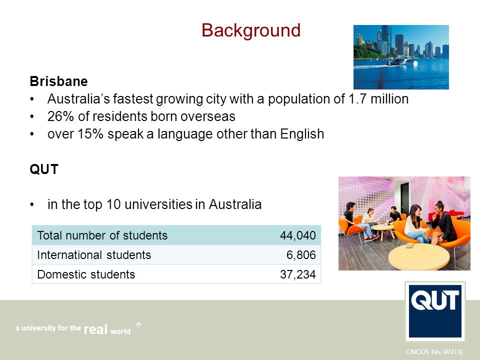 Background Brisbane. Australia's fastest growing city with a population of 1.7 million. 26% of residents born overseas.