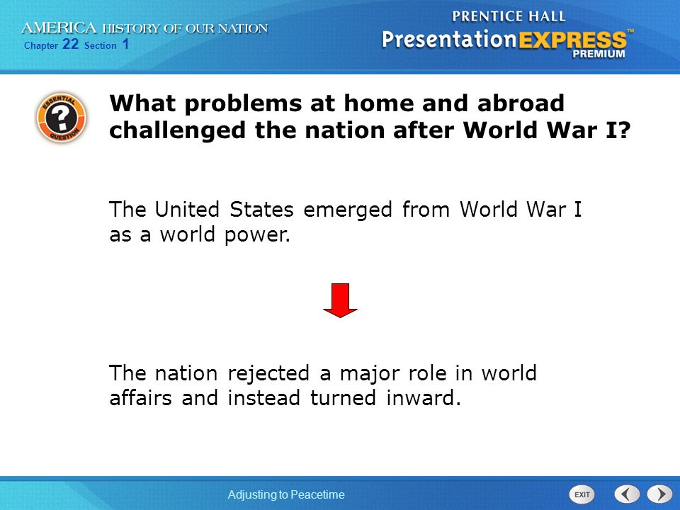 What problems at home and abroad challenged the nation after World War I