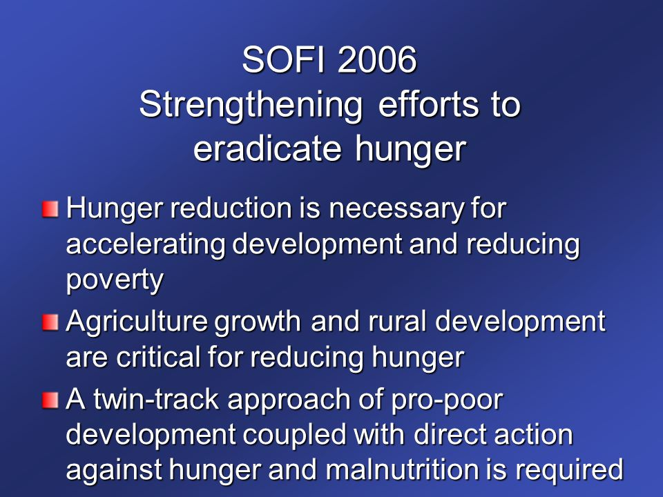 SOFI 2006 Strengthening efforts to eradicate hunger
