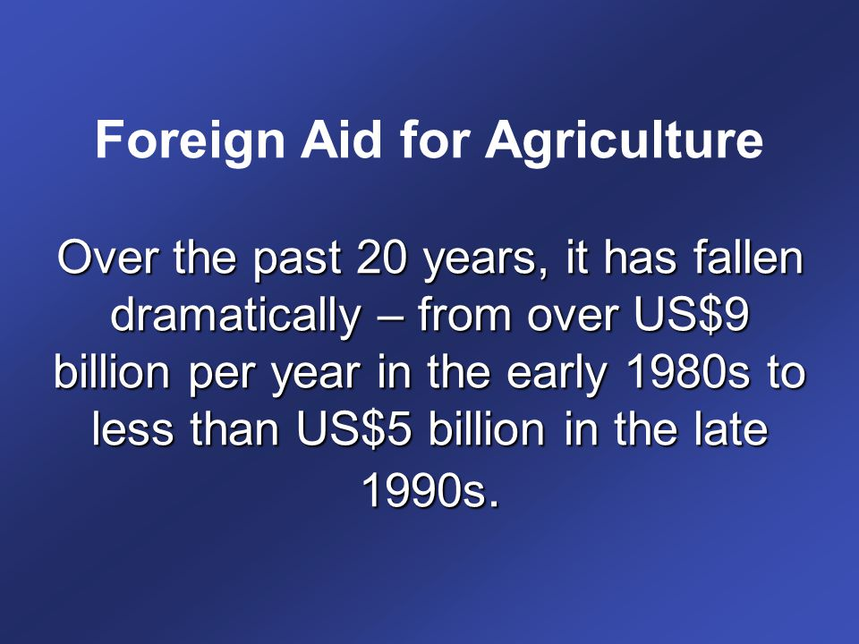 Foreign Aid for Agriculture Over the past 20 years, it has fallen dramatically – from over US$9 billion per year in the early 1980s to less than US$5 billion in the late 1990s.