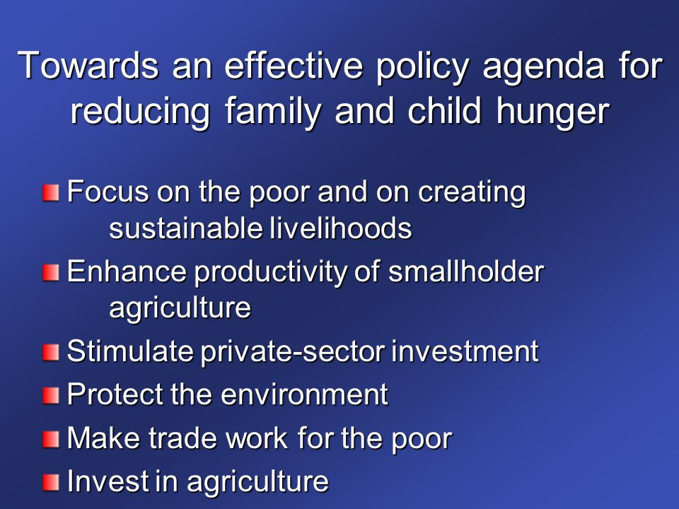 Towards an effective policy agenda for reducing family and child hunger