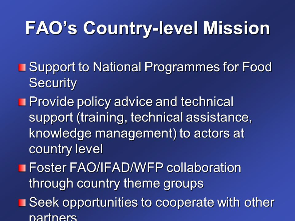 FAO's Country-level Mission