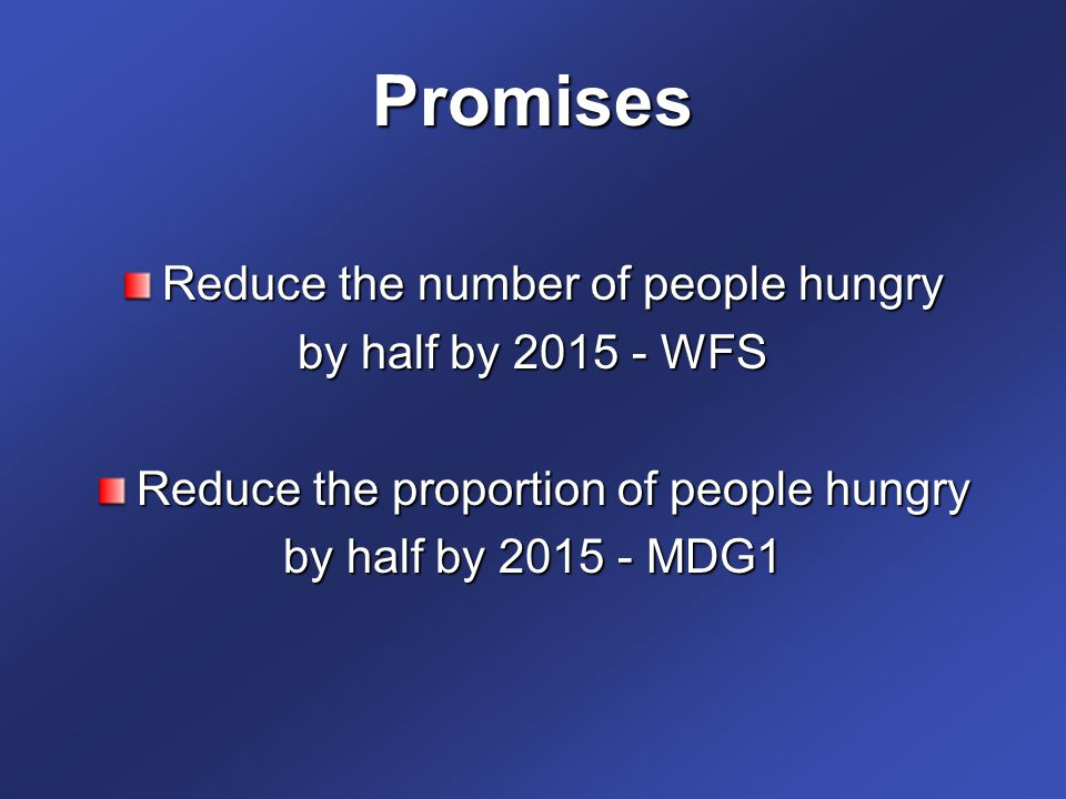 Promises Reduce the number of people hungry by half by 2015 - WFS