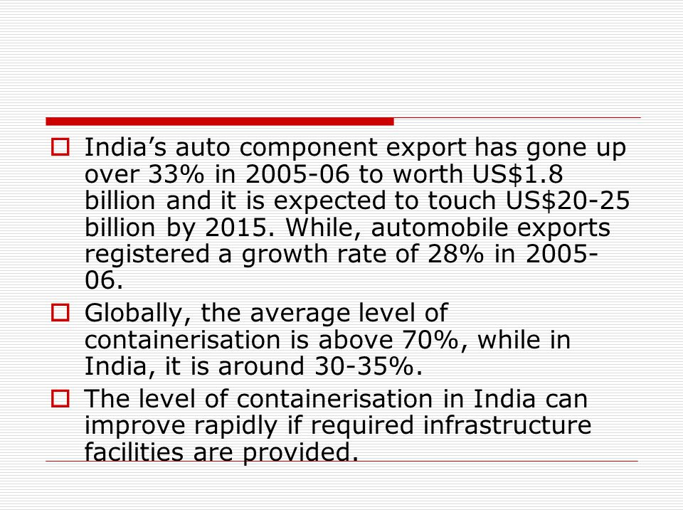 India's auto component export has gone up over 33% in 2005-06 to worth US$1.8 billion and it is expected to touch US$20-25 billion by 2015. While, automobile exports registered a growth rate of 28% in 2005-06.
