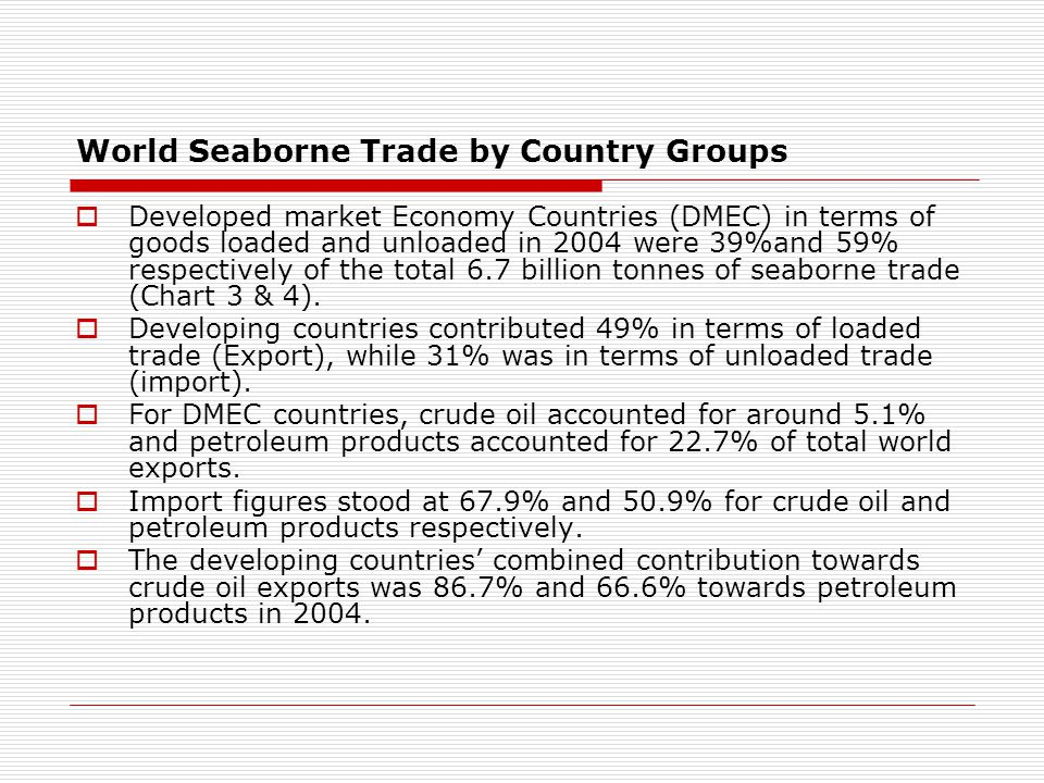 World Seaborne Trade by Country Groups