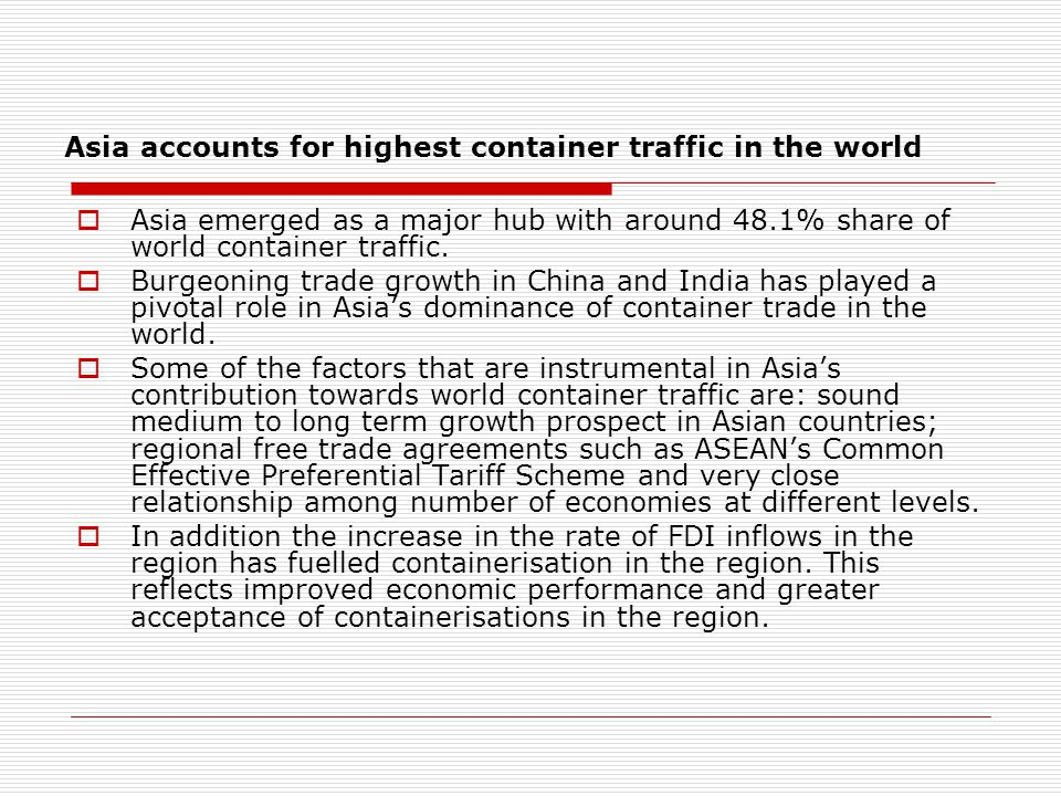 Asia accounts for highest container traffic in the world